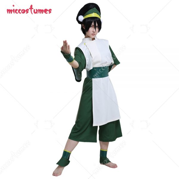 Avatar The Last Airbender Toph Beifong Adult Green Kungfu Suit Cosplay Costume with Hairband - Avatar The Last Airbender Merch