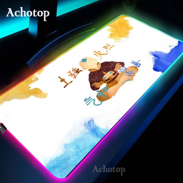 Avatar the Last Airbender Gaming Mouse Pad RGB Mouse Pad Gamer Computer Mousepad RGB Backlit Mause 2 - Avatar The Last Airbender Merch