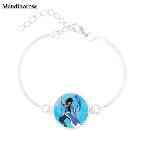 Mendittorosa Avatar the Last Airbender New Brand Jewelry Silver Colour With Glass Cabochon Bracelet Bangle For 2 - Avatar The Last Airbender Merch