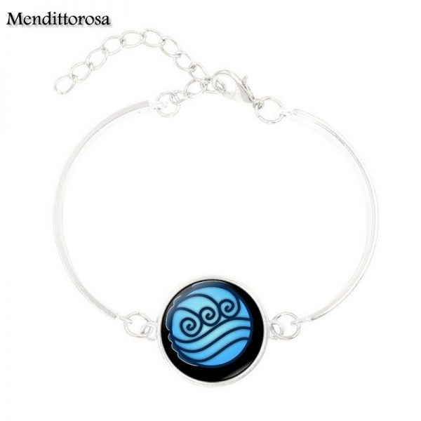Mendittorosa Avatar the Last Airbender New Brand Jewelry Silver Colour With Glass Cabochon Bracelet Bangle For 4 - Avatar The Last Airbender Merch