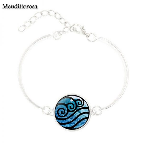 Mendittorosa Avatar the Last Airbender New Brand Jewelry Silver Colour With Glass Cabochon Bracelet Bangle For 5 - Avatar The Last Airbender Merch