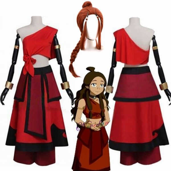 New Anime Avatar the last Airbender Katara Cosplay Costume And Wig For Carnival Halloween Party - Avatar The Last Airbender Merch